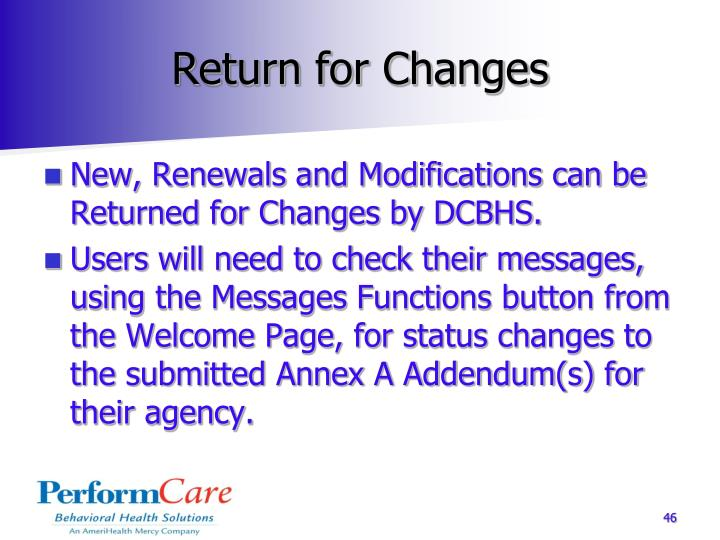 Return for Changes