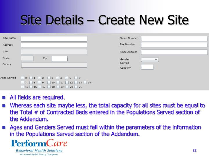 Site Details – Create New Site