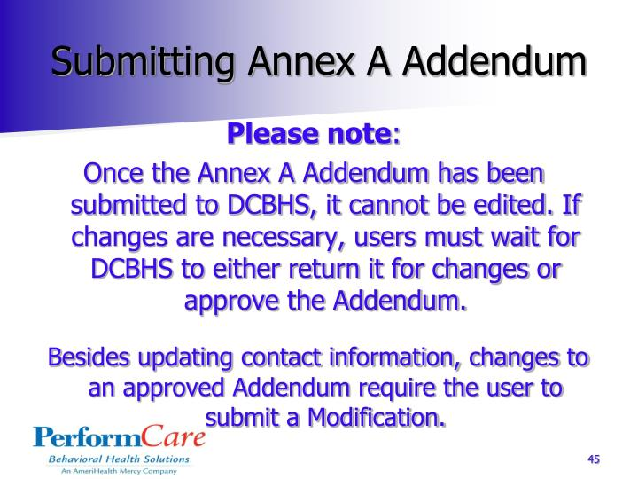Submitting Annex A Addendum