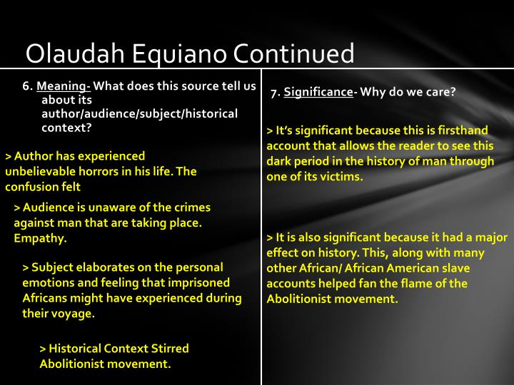 Olaudah equiano continued
