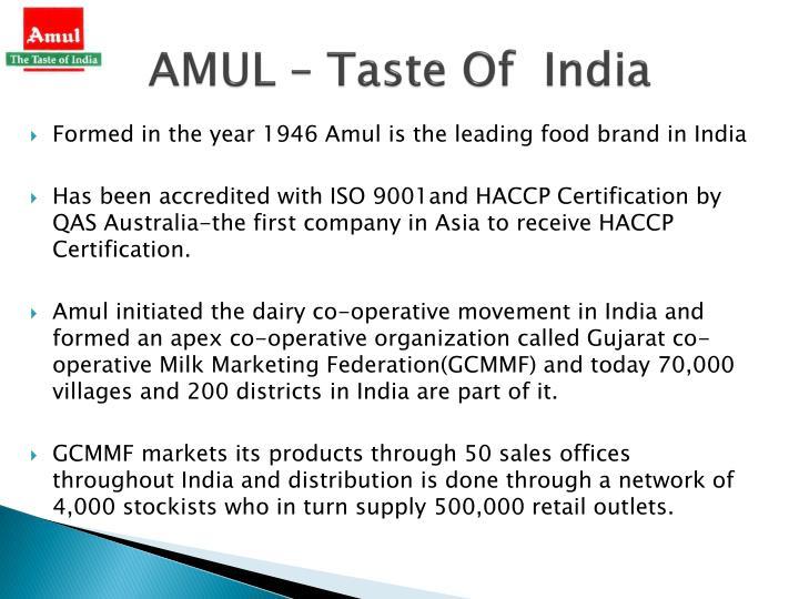 AMUL – Taste Of  India