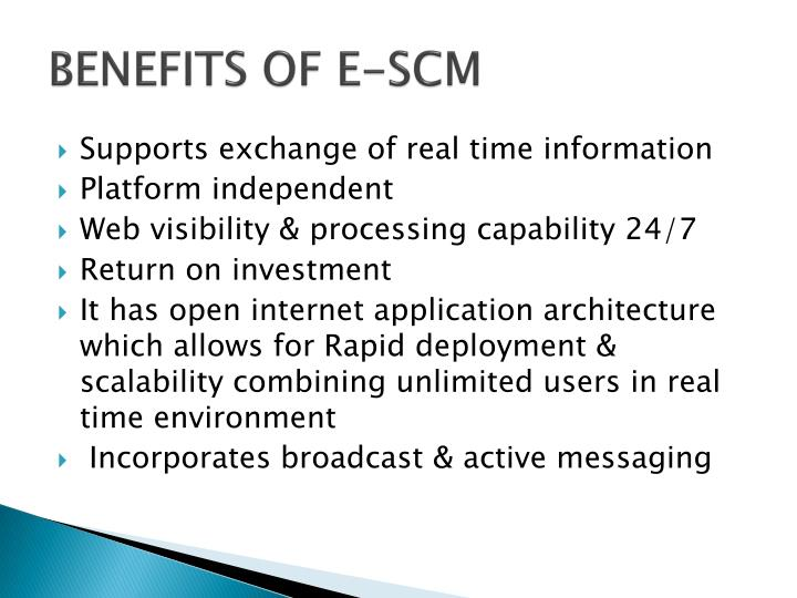 BENEFITS OF E-SCM