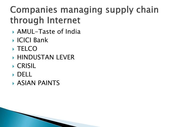 Companies managing supply chain through Internet