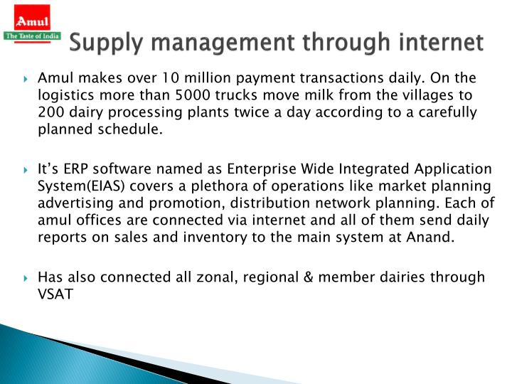 Supply management through internet