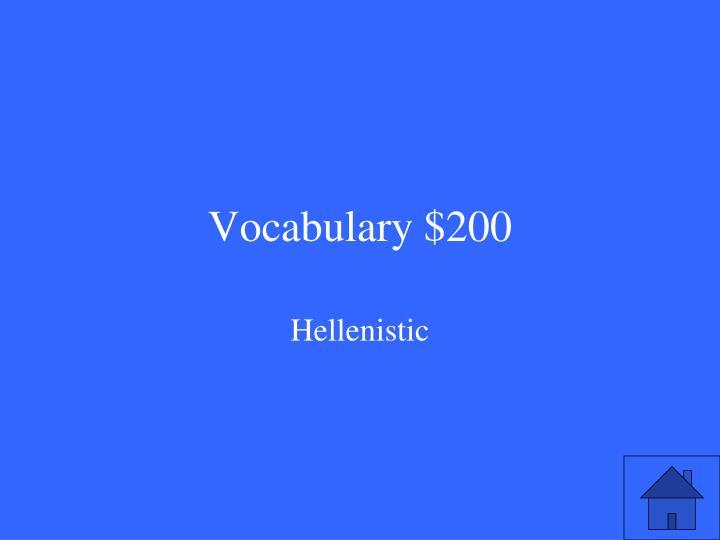 Vocabulary $200