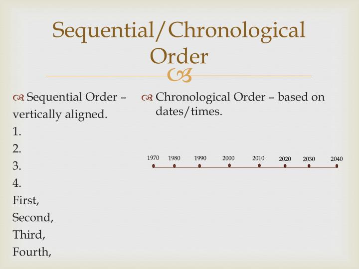 Sequential/Chronological Order