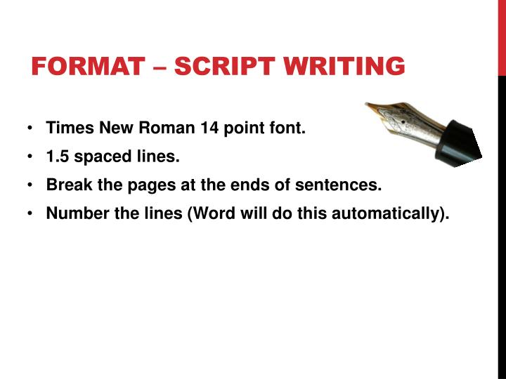 Format – Script writing