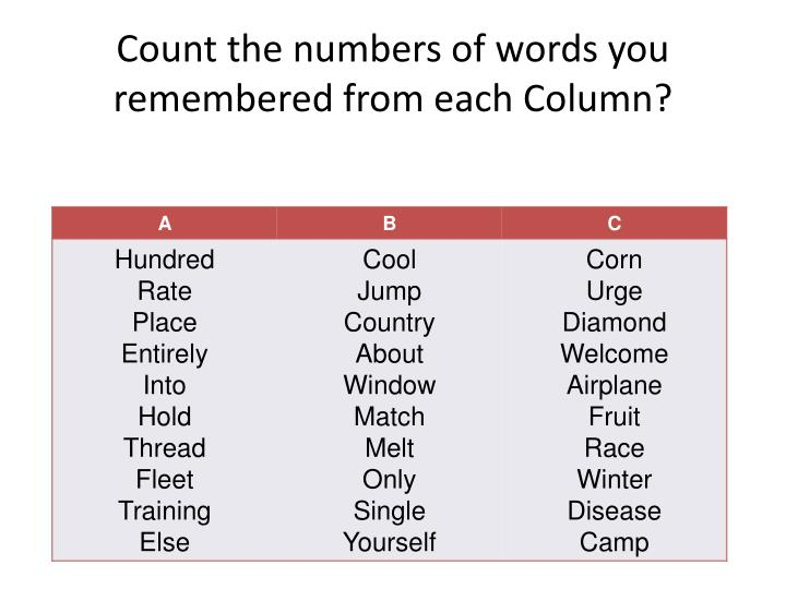 Count the numbers of words you remembered from each Column?
