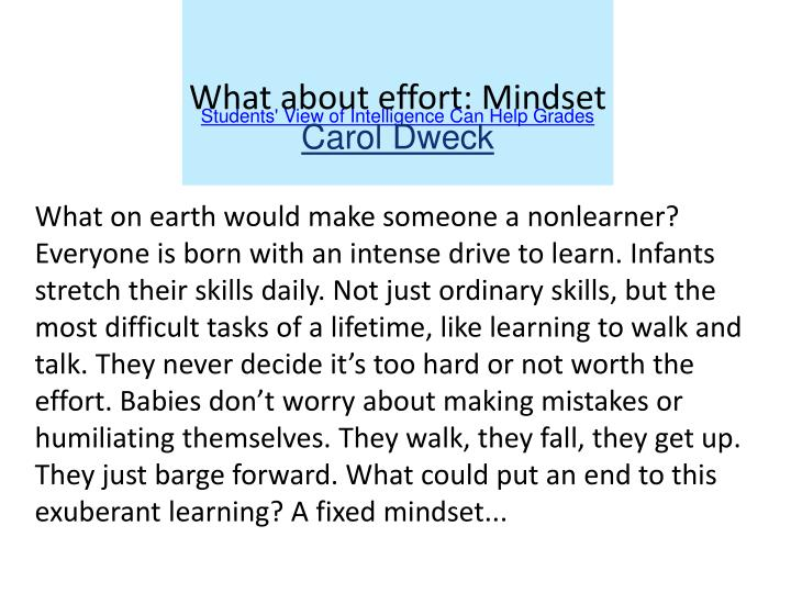 What about effort: Mindset