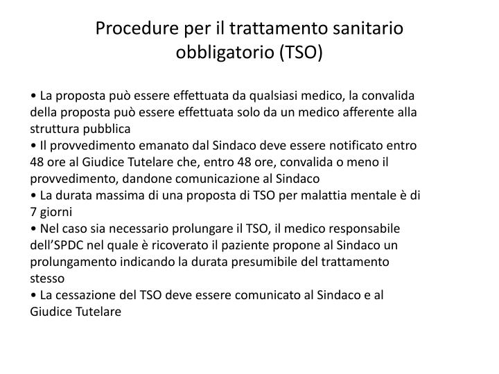 Procedure per il trattamento sanitario