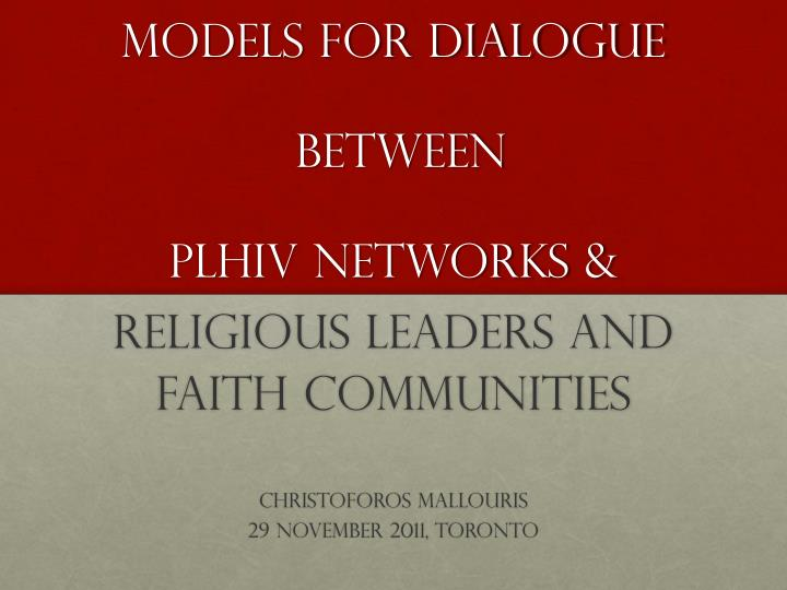 Models for dialogue between plhiv networks