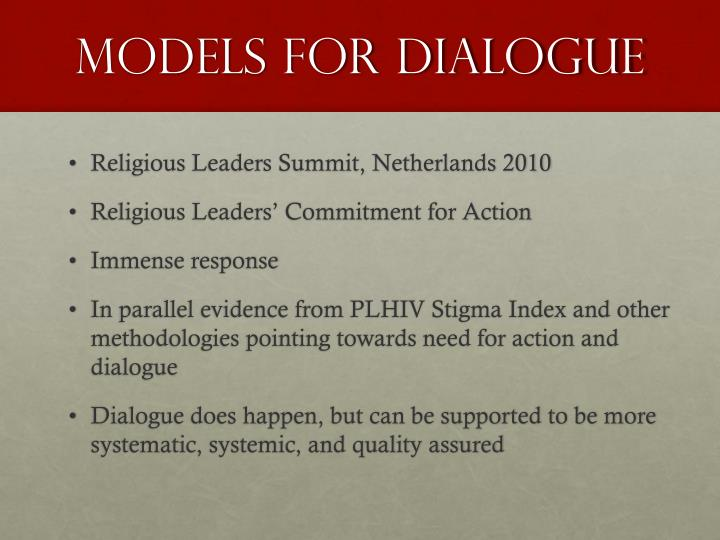 Models for Dialogue