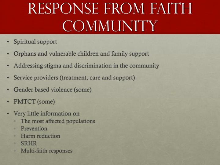 Response from faith community