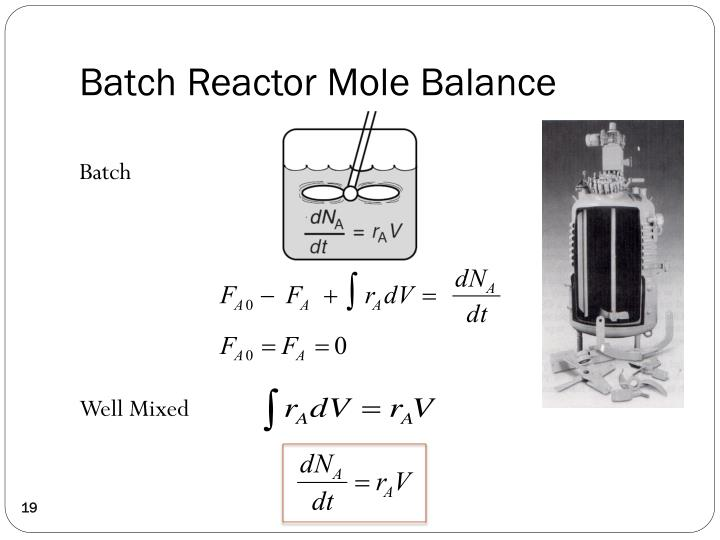 Batch Reactor Mole Balance