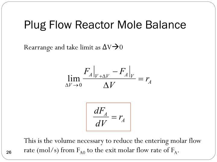 Plug Flow Reactor Mole Balance