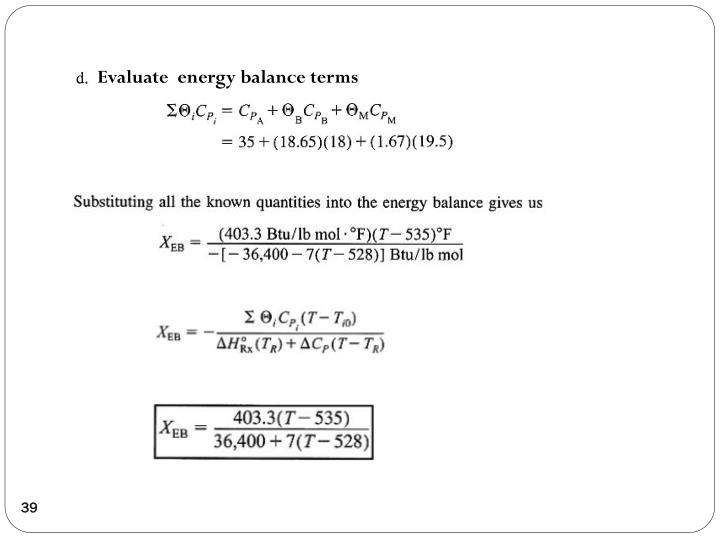 Evaluate  energy balance terms