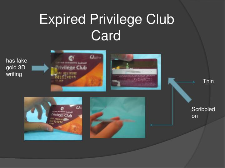 Expired Privilege Club Card