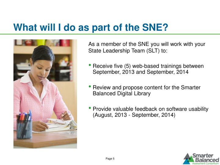 What will I do as part of the SNE?