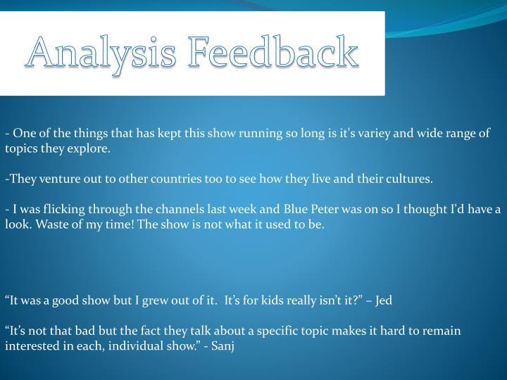 Analysis Feedback