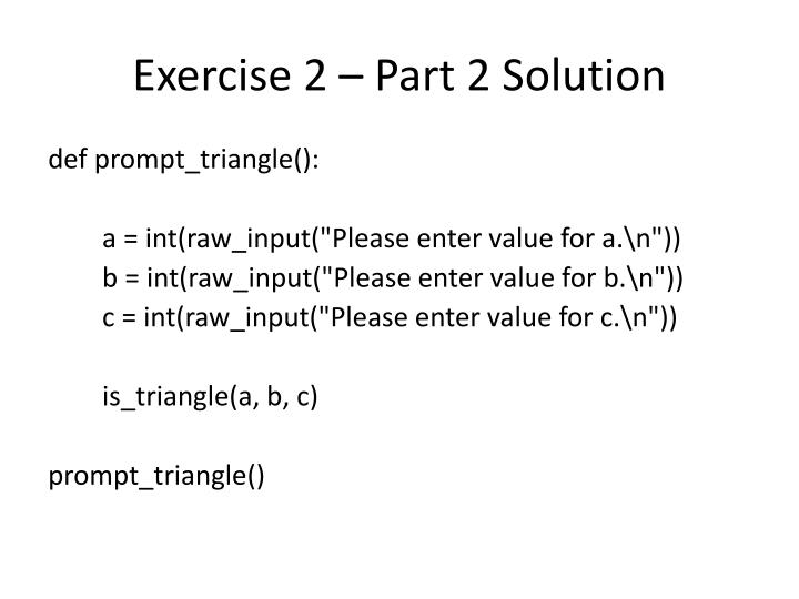 Exercise 2 – Part 2 Solution