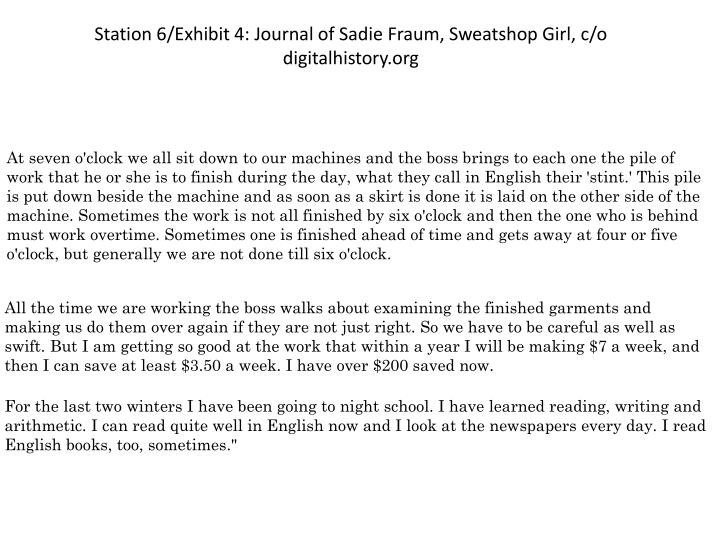 Station 6/Exhibit 4: Journal of Sadie