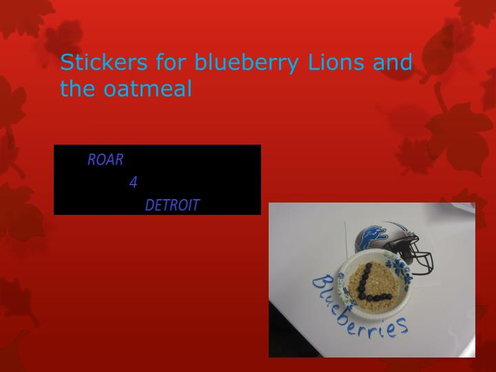Stickers for blueberry Lions and the oatmeal
