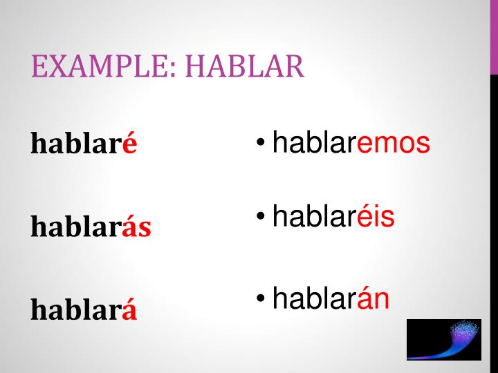 Example: hablar