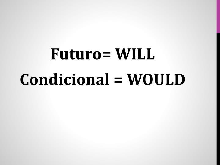 Futuro= WILL