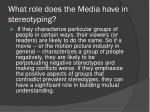 what role does the media have in stereotyping1