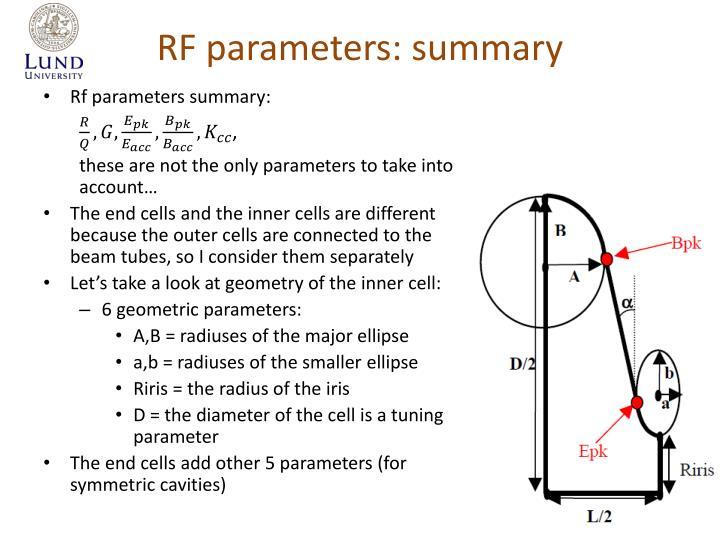 RF parameters: