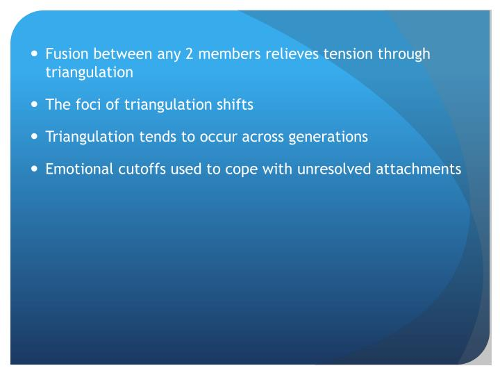 Fusion between any 2 members relieves tension through triangulation