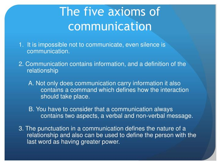 The five axioms of communication