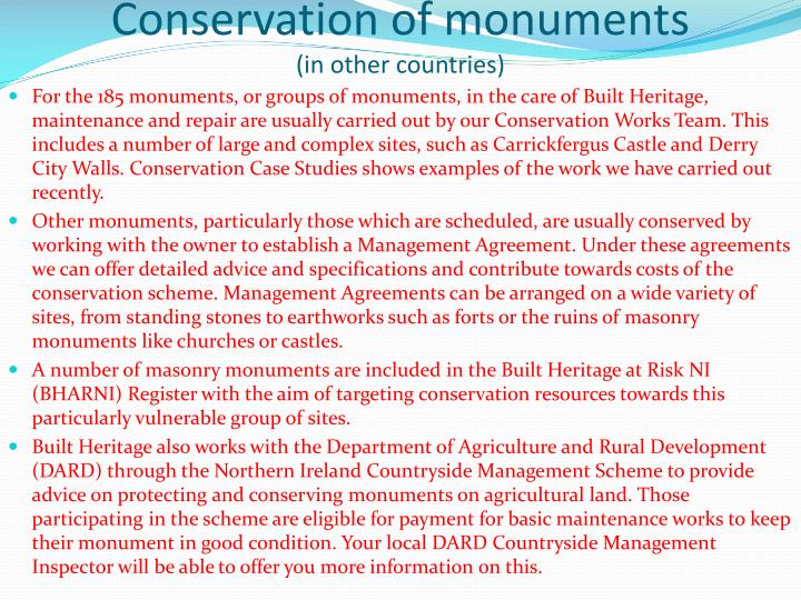 Conservation of monuments