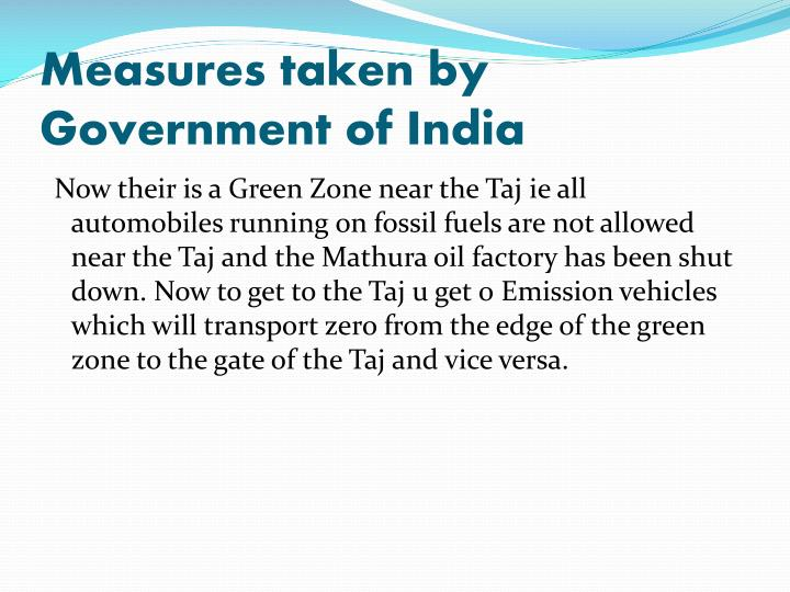 Measures taken by Government of India
