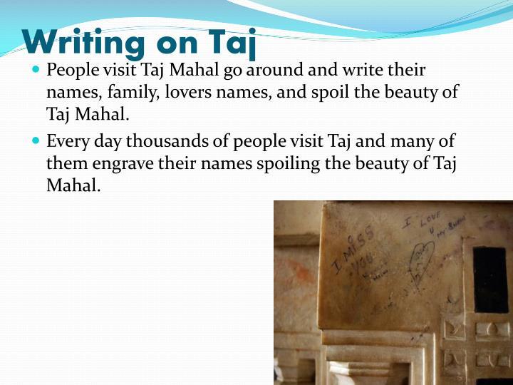 Writing on Taj