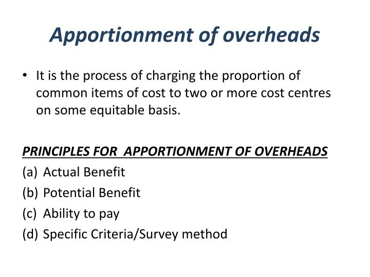 Apportionment of overheads