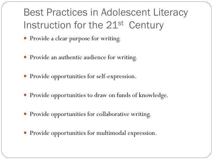 Best Practices in Adolescent Literacy Instruction for the 21