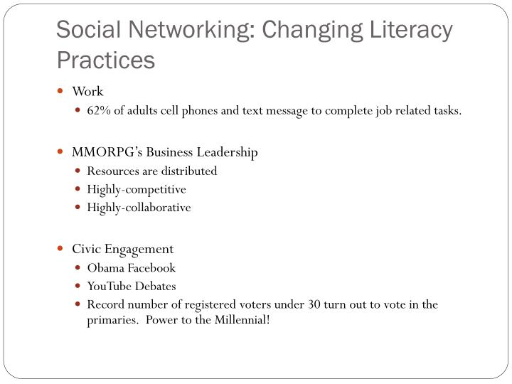 Social Networking: Changing Literacy Practices