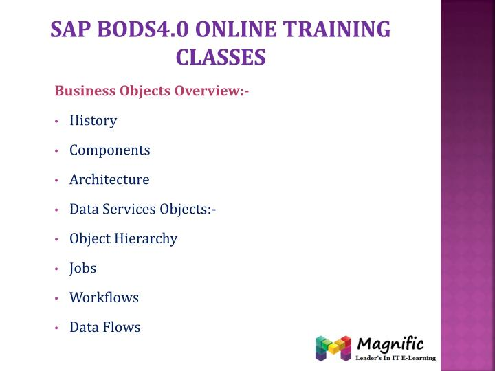 Sap bods4.0 online training classes