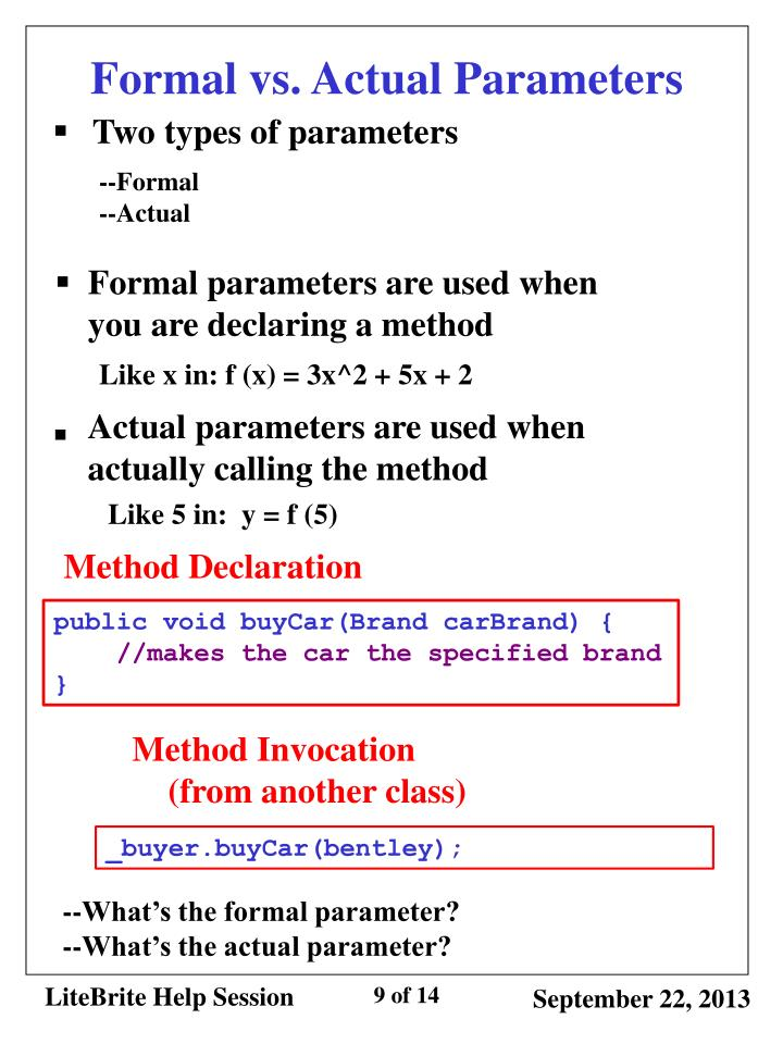 Formal vs. Actual Parameters