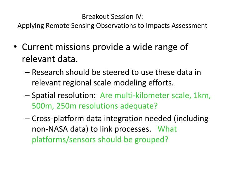 Breakout Session IV: