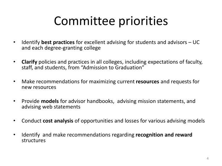 Committee priorities
