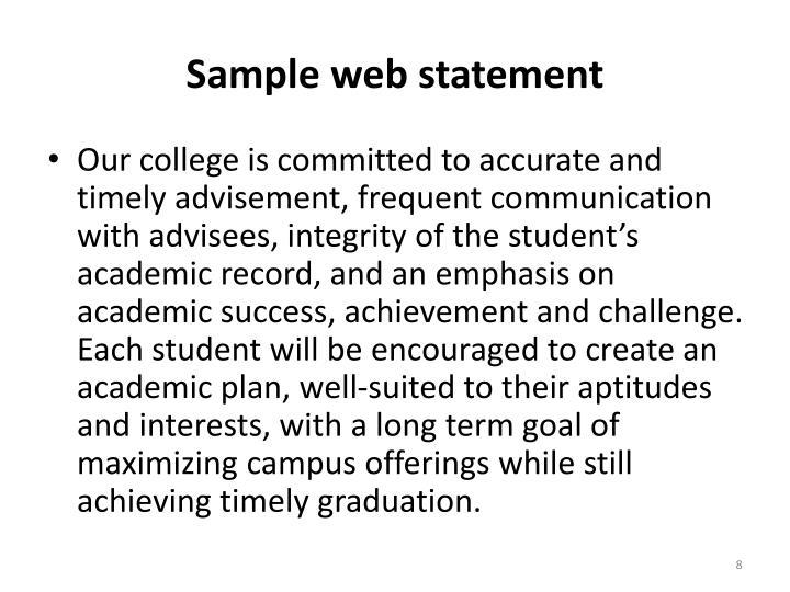 Sample web statement