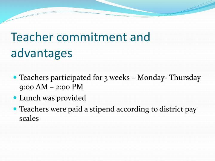 Teacher commitment and advantages