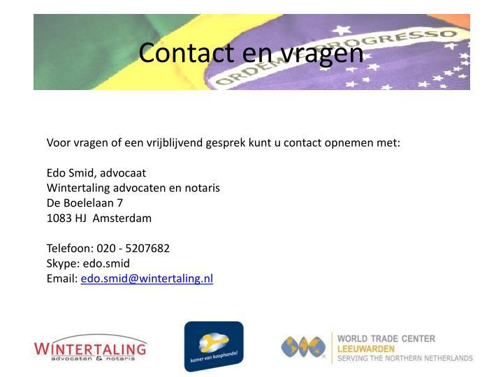 Contact en vragen