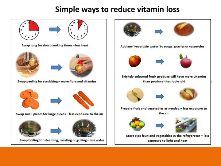 Simple ways to reduce vitamin loss