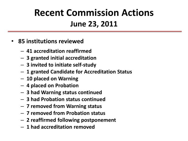 Recent Commission Actions