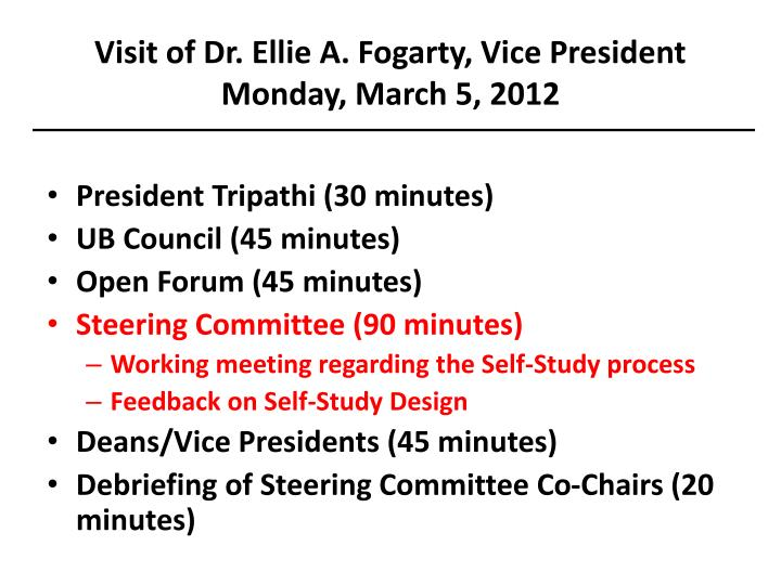 Visit of Dr. Ellie A. Fogarty, Vice President