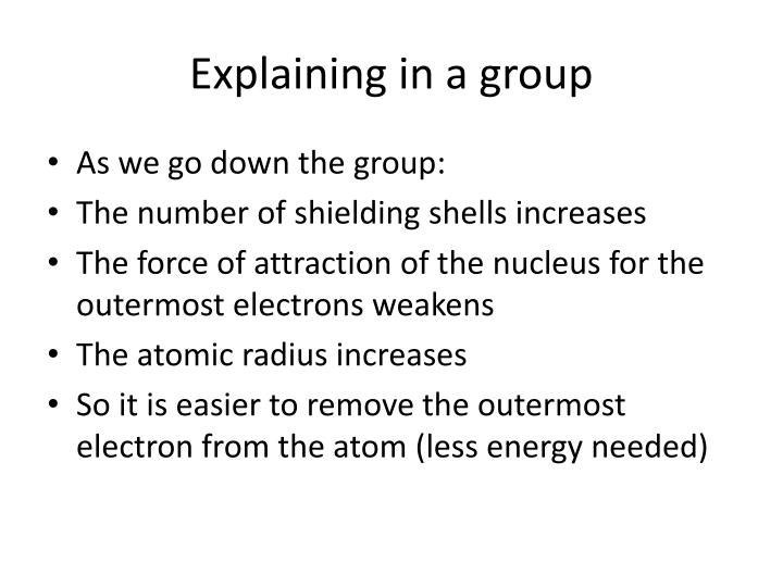 Explaining in a group