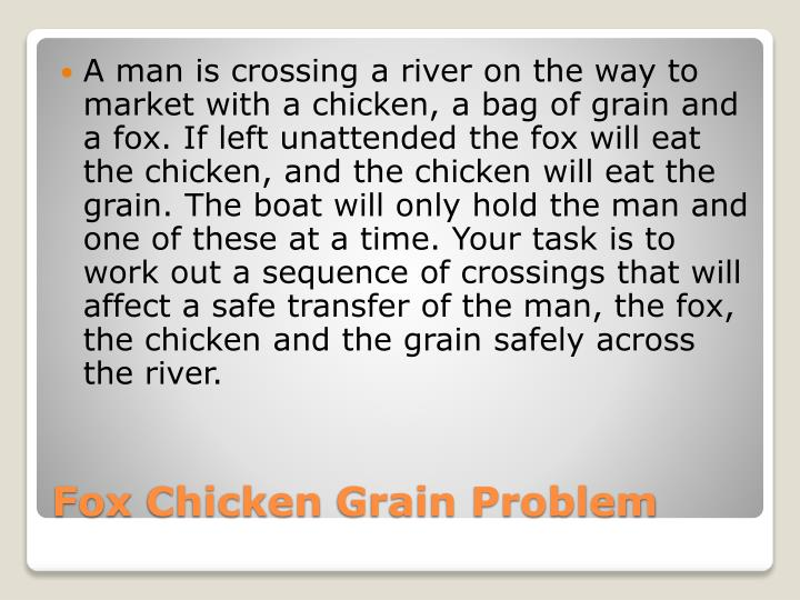 A man is crossing a river on the way to market with a chicken, a bag of grain and a fox. If left unattended the fox will eat the chicken, and the chicken will eat the grain. The boat will only hold the man and one of these at a time. Your task is to work out a sequence of crossings that will affect a safe transfer of the man, the fox, the chicken and the grain safely across the river.